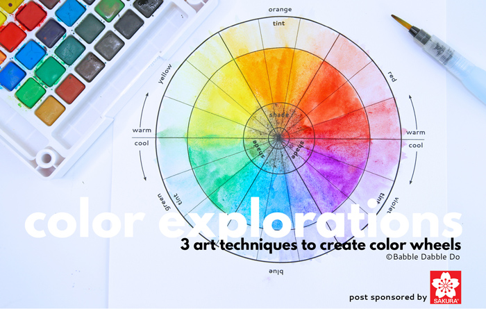A simple and lovely color wheel project for kids featuring 3 easy art techniques. Download the template and get started with color theory!