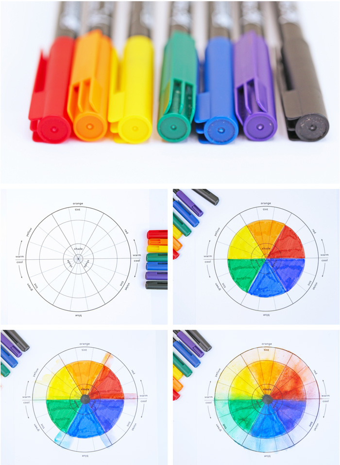 A color wheel project for kids featuring water based markers.