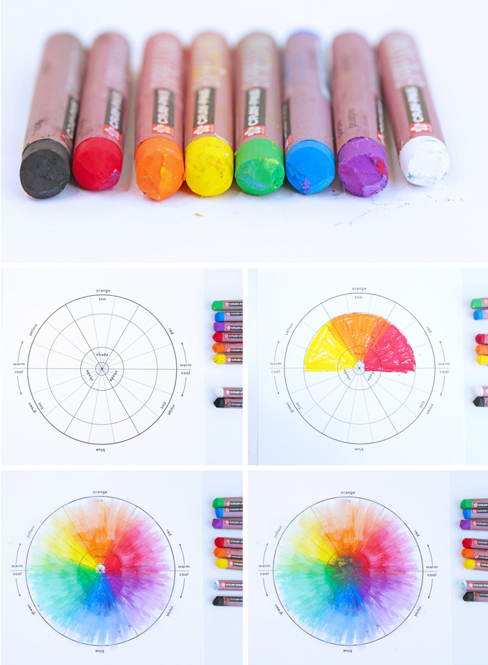 A color wheel project for kids featuring oil pastels.