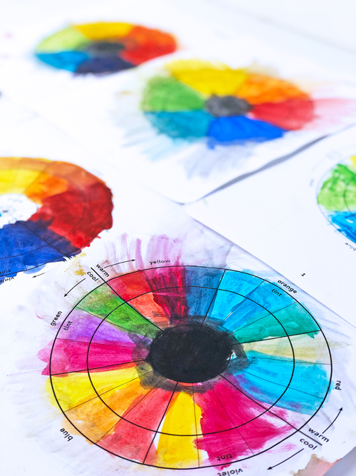 A simple and lovely color wheel project for kids featuring 3 easy art techniques.