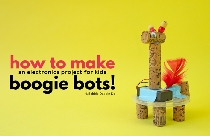 This easy electronics project for kids is the perfect STEAM activity. Learn how to make your own Boogie Bot! The frame can also be used for an art bot.