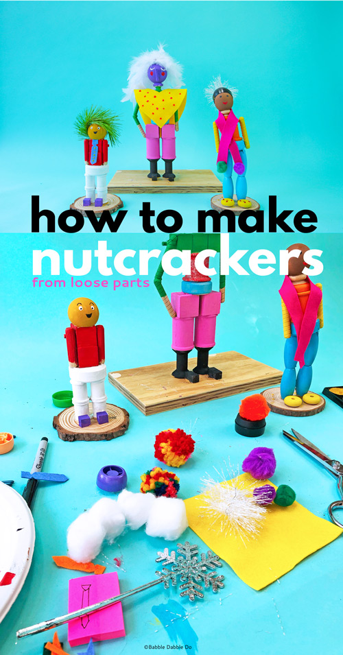 Learn how to make a fanciful DIY nutcracker from loose wood parts. This is a wonderful lesson for kids on structures and storytelling and a great maker skills project!