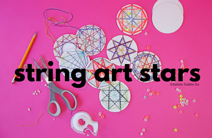 Learn how to make string art stars using paper coasters! A classic math art craft both kids and adults will love.