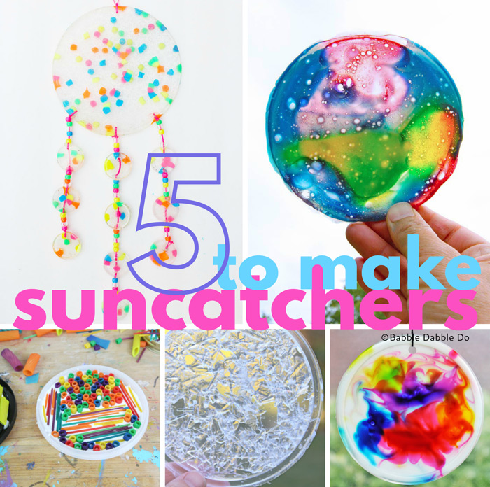 5 funky and simple suncatcher ideas you'll want to make with your kids! They all use easy to find materials.