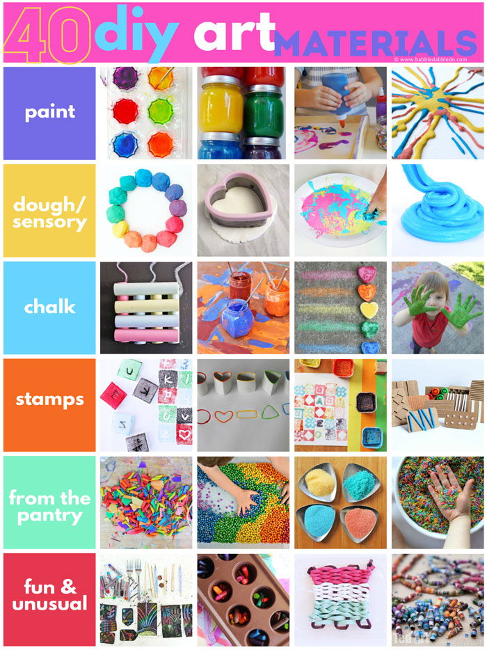 40 DIY art materials you can make at home. Making your own art supplies saves money and is a great lesson in resourcefulness for kids!