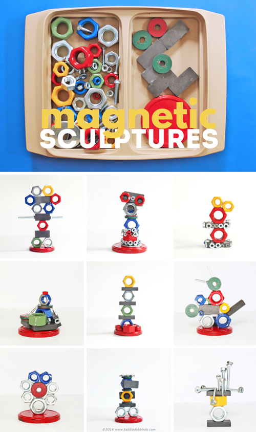 Explore magnetism with kids by making magnetic sculptures!  A great STEAM activity using magnets and metallic items from your junk drawer.