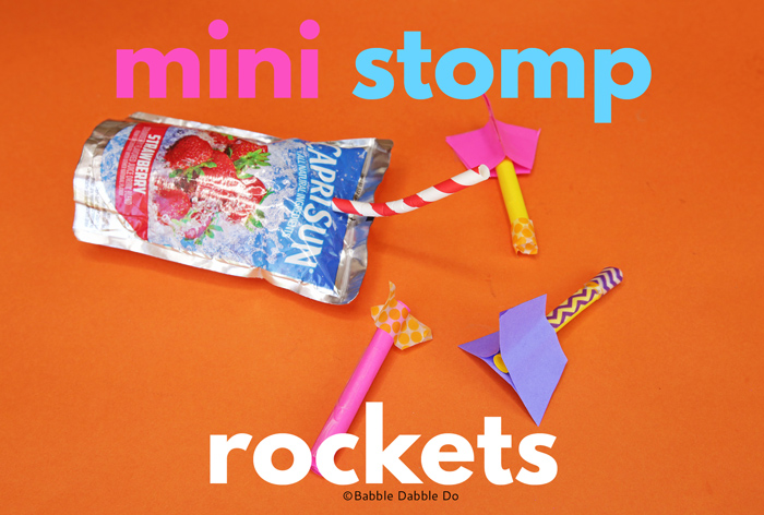 Make a simple mini stomp rocket out of a juice pouch! This is a great indoor STEAM activity!