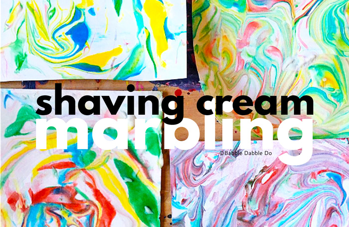 Learn how to make marbled paper using shaving cream and food coloring! IThis is an easy and beautful process art project for kids and adults alike!