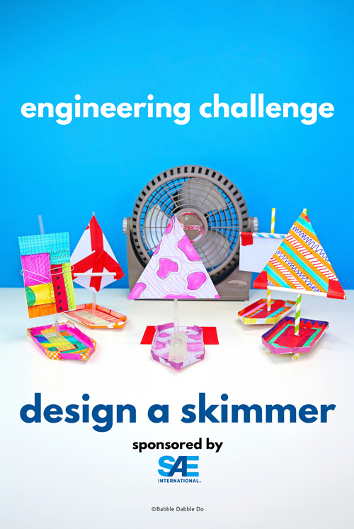 Try this engineering challenge for kids: Design a paper skimmer toy out of simple materials.