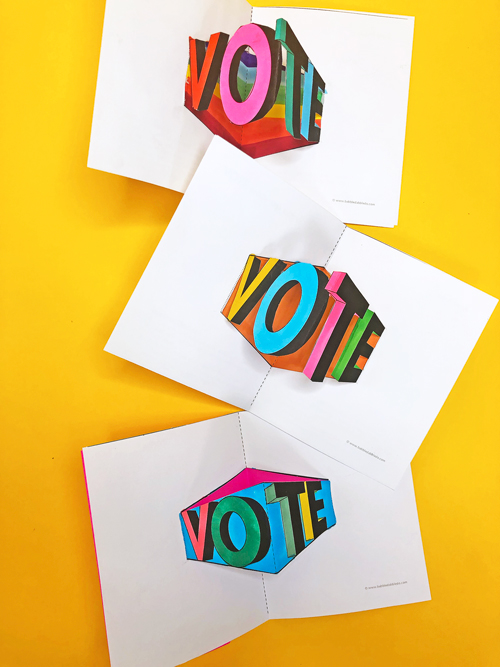 Make a VOTE pop-up card to remind friends and family to participate in the election! Print the template and make this out of one sheet of paper.