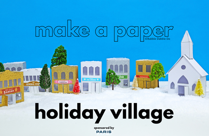 If you love miniatures you will love this DIY paper Christmas Village! Print the templates on glitter cardstock and create a holiday village.