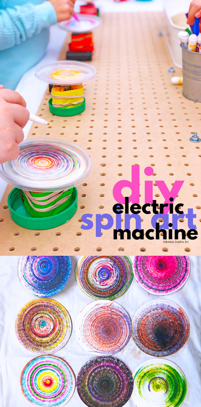 Learn how to make a DIY electric spin art machine! This is a fantastic STEAM project combining electronics and art.