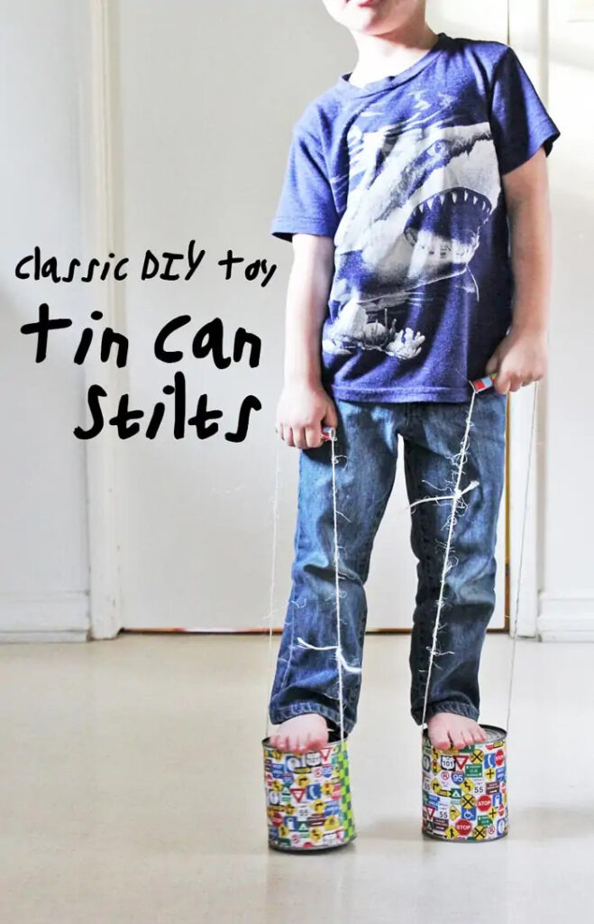 Learn how to make the classic DIY toy: Tin Can Stilts! This is a fun DIY toy that also helps children develop their gross motor skills.